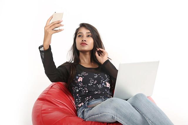 selfie na beanbagu