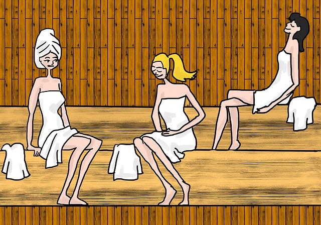 kreslený obrázek koupajících se lidí ve vířivce