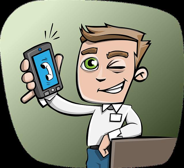 kreslený muž držící vyzvánějící chytrý telefon